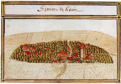 historische Zeichnung vom Simmetzheim aus dem Jahre 1681